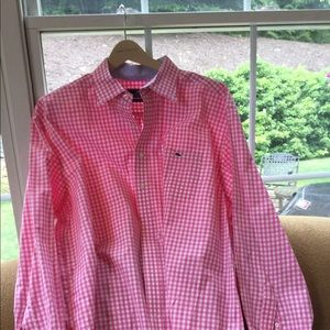Vineyard Vines pink plaid button down shirt